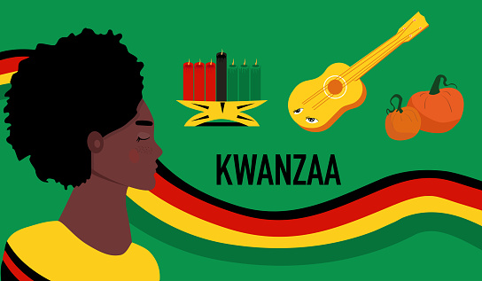 Kwanzaa celebration poster with symbols.Afro-American woman profil portrait.Seven candles kinara for lighting ceremony (Mishuma Saba).Festival of culture,unity and harvest traditions.