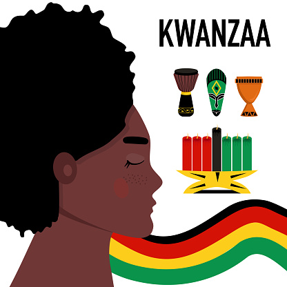 Kwanzaa celebration poster with symbols.Woman profil portrait.Seven candles kinara for lighting ceremony (Mishuma Saba).Unity cup and mask.