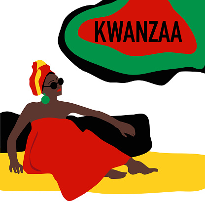 Kwanzaa celebration poster.Festival of African-American culture and harvest traditions.New year holiday.Young woman black ethnicity sits in national dress.