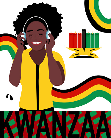 Kwanzaa celebration poster.Festival of African-American culture,music and harvest traditions.New year holiday.Young woman black ethnicity.