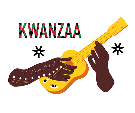 Kwanzaa celebration poster.Festival of African-American culture,music and harvest traditions.New year holiday.Hands black ethnicity with tattoo play the guitar or ukulele.