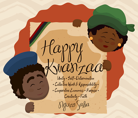 Kwanzaa Design with Couple Holding Scroll with the Seven Principles