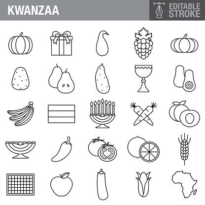 Kwanzaa Editable Stroke Icon Set