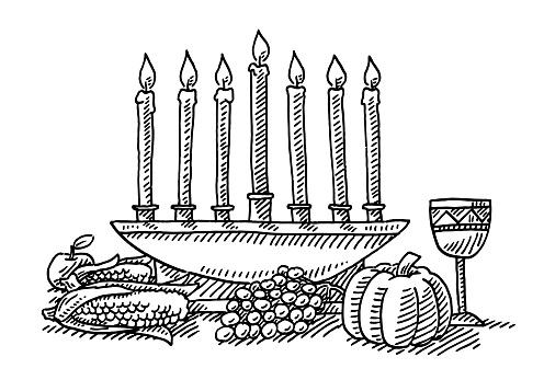 Kwanzaa Festival Candles Symbol Drawing
