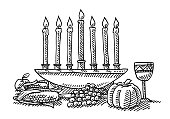 Kwanzaa Festival Candles Symbol Drawing