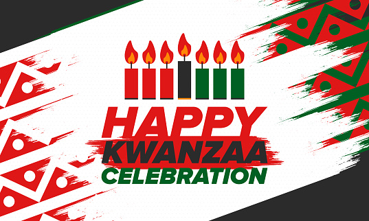 Kwanzaa Happy Celebration. African and African-American culture holiday. Seven days festival, celebrate annual from December 26 to January 1. Black history. Poster, card, banner and background. Vector