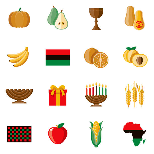 Kwanzaa Icon Set A set of Kwanzaa icons. File is built in the CMYK color space for optimal printing. Color swatches are global so it's easy to edit and change the colors. kwanzaa stock illustrations