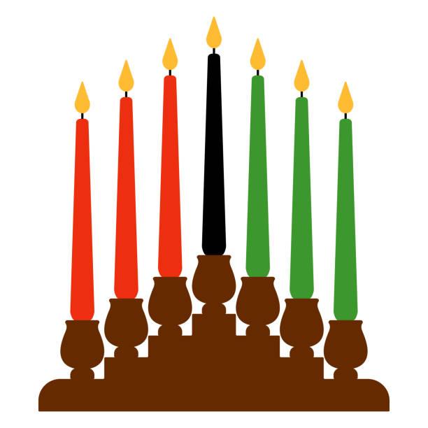 Kwanzaa Kinara Candleholder called kinara and seven candles called mishumaa saba for Kwanzaa kwanzaa stock illustrations