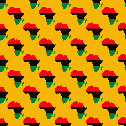 Kwanzaa Pan-African Flag Africa Map Pattern