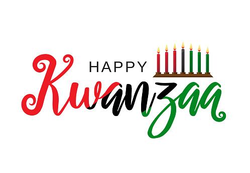 Kwanzaa poster lettering design. Vector