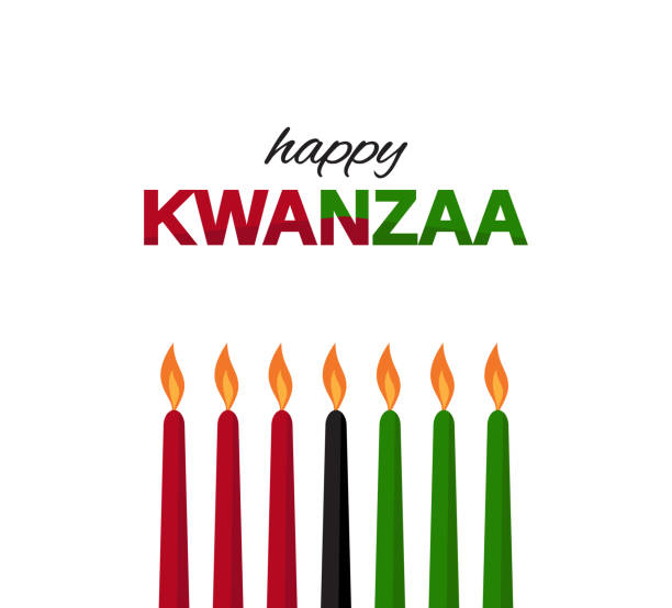 kwanzaa poster on white background with colorful candles. vector illustration. - kwanzaa stock illustrations