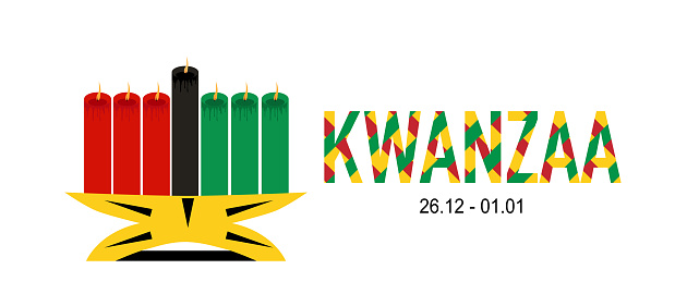 Kwanzaa symbols and ideas.Seven candles kinara and lighting ceremony (Mishuma Saba).Celebration poster.Festival of African-American culture,unity and harvest tradition.