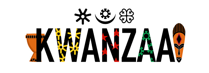 Kwanzaa word with symbols and attributes.Unity cup and ethnic mask.Principles signs and amulets.Celebration poster.Festival of African-American culture and harvest.