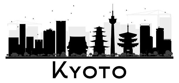 Kyoto City skyline black and white silhouette.