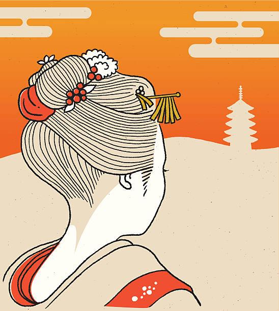 kyoto geisha girl vector art illustration