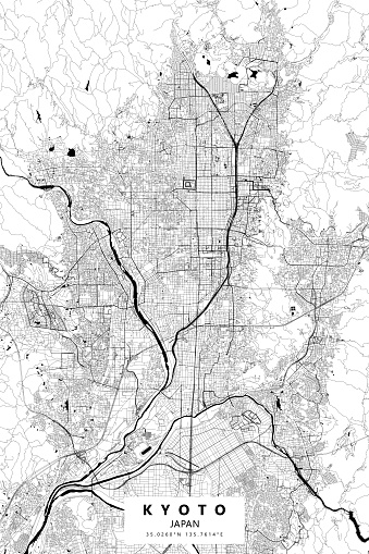 Kyoto, Japan Vector Map
