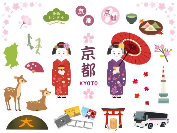 illustrazioni stock, clip art, cartoni animati e icone di tendenza di kyoto set1 - solo giapponesi