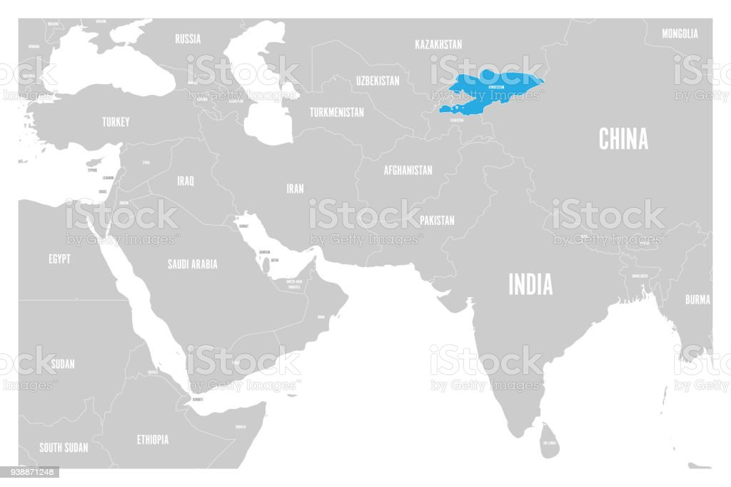 kyrgyzstan blue marked in political map of south asia and middle east simple flat vector