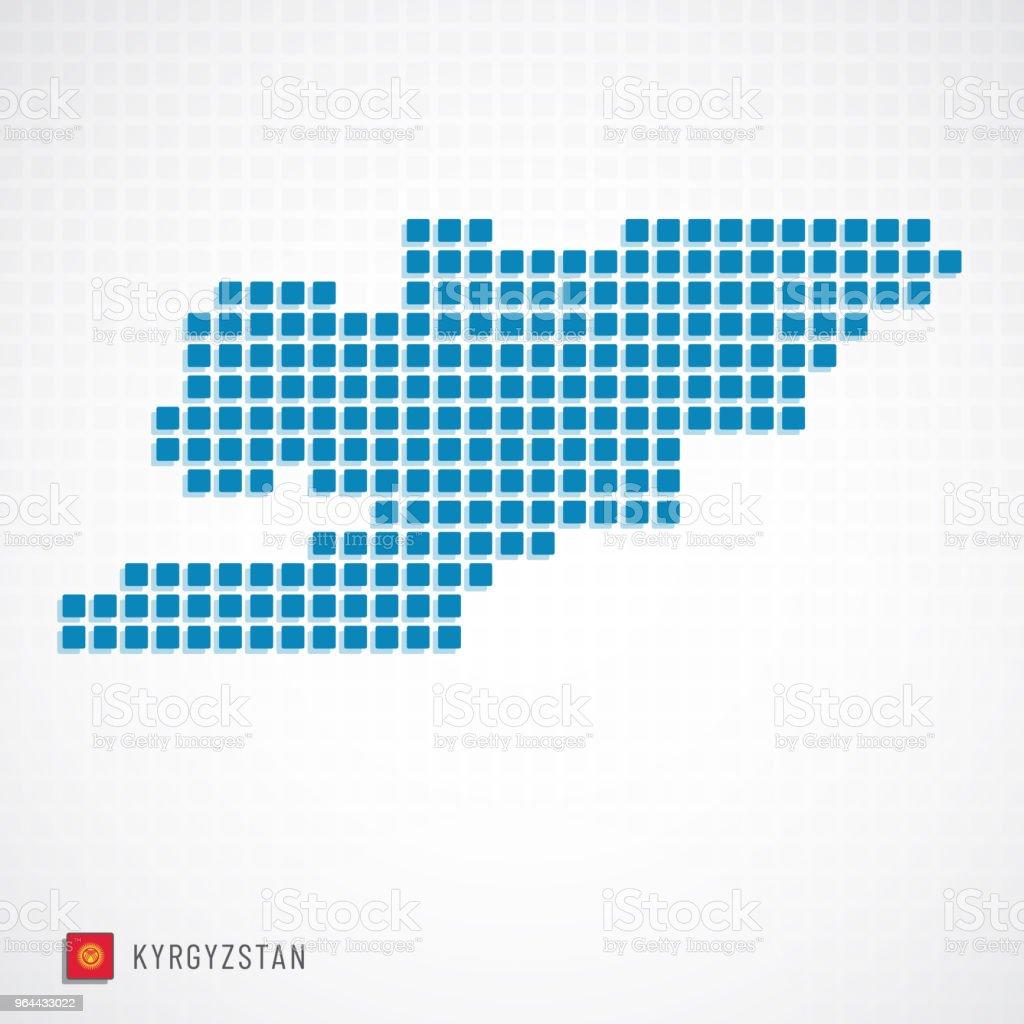 Ícone do mapa e bandeira do Quirguistão - Vetor de Arte royalty-free
