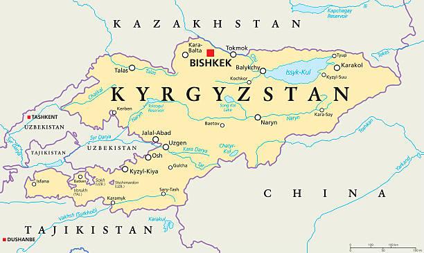 kyrgyzstan political map - kasachstan stock-grafiken, -clipart, -cartoons und -symbole