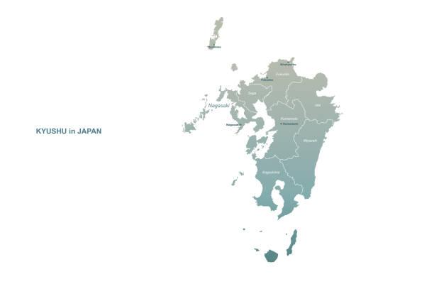 九州地圖。日本區域向量映射。 - hiroshima 幅插畫檔、美工圖案、卡通及圖標