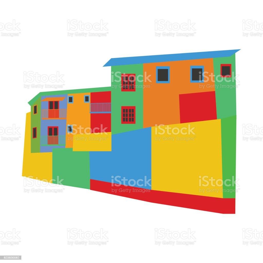 La Boca district Argentina vector art illustration