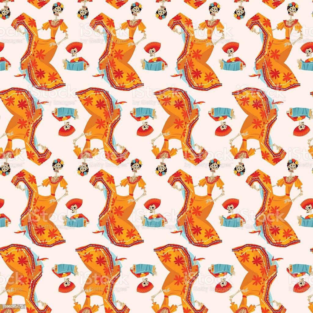 La Calavera Catrina. Dia de Muertos. Seamless background pattern. royalty-free la calavera catrina dia de muertos seamless background pattern stock vector art & more images of accordion - instrument