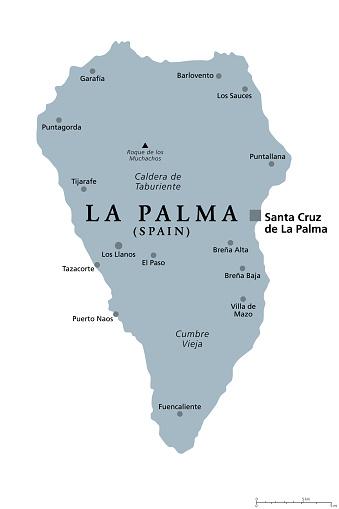 La Palma island, gray political map, part of the Canary Islands, Spain
