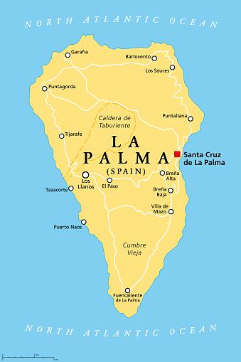 La Palma island, political map, part of the Canary Islands, Spain