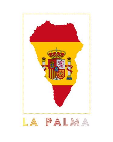 La Palma Logo. Map of La Palma with island name and flag.