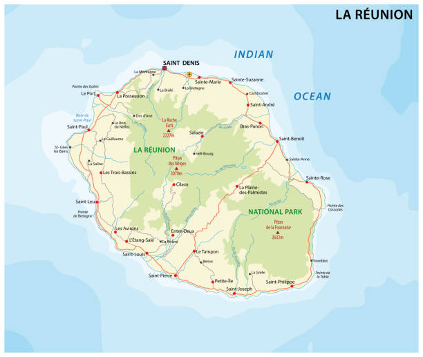 la reunion road and national park map - reunion stock illustrations, clip art, cartoons, & icons