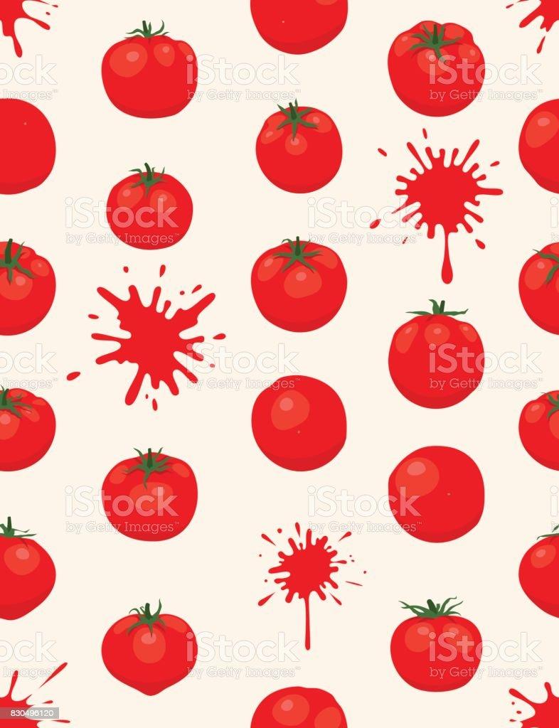 La Tomatina background [Tomatos seamless pattern] vector art illustration