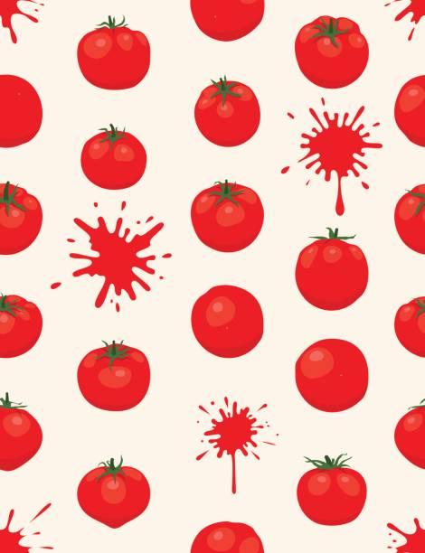 ilustrações de stock, clip art, desenhos animados e ícones de la tomatina background [tomatos seamless pattern] - tomate