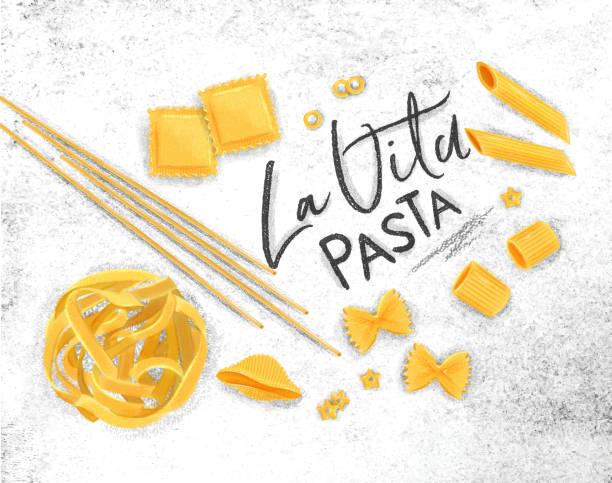 La vita pasta poster Poster lettering la vita pasta with many kinds of macaroni drawing on dirty paper background. ravioli stock illustrations