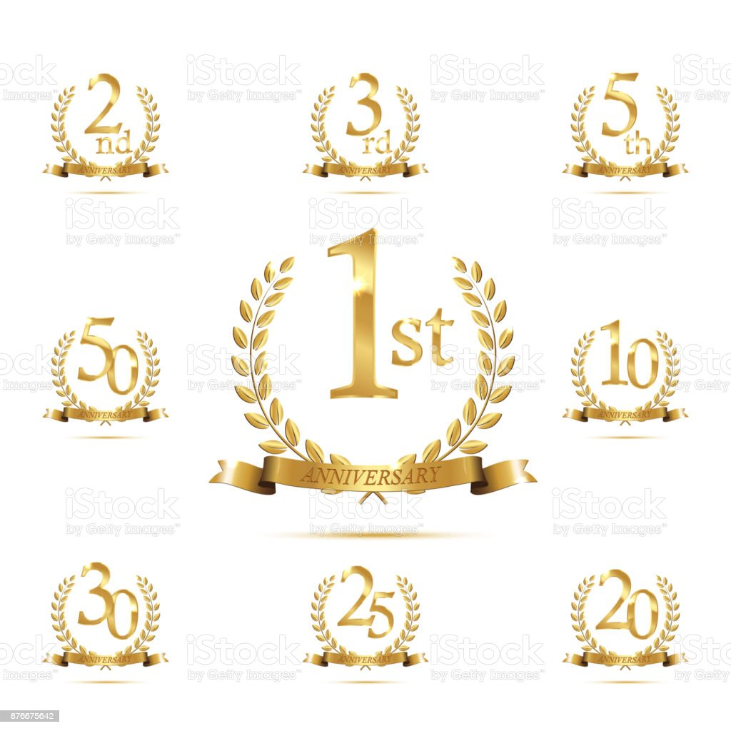 laAnniversary golden symbol set. Golden laurel wreaths with ribbons and anniversary year symbols on white background. Vector anniversary design element.urel_podium_ribbon vector art illustration