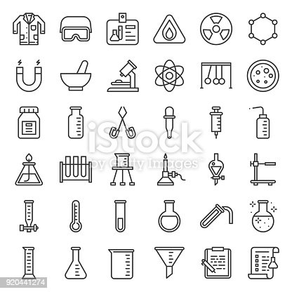 istock Lab and chemistry education icon, thin line 920441274