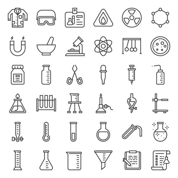 illustrazioni stock, clip art, cartoni animati e icone di tendenza di lab and chemistry education icon, thin line - chimica