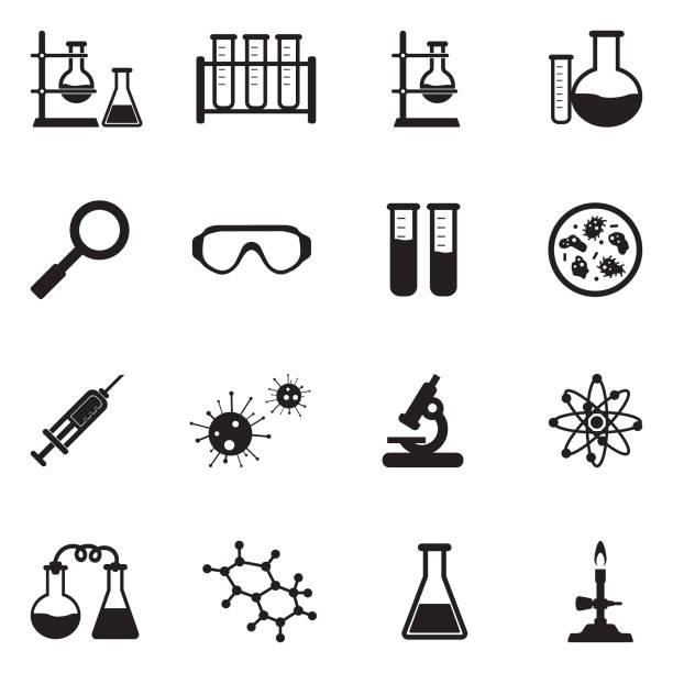 lab and research icons. black flat design. vector illustration. - пробирка stock illustrations