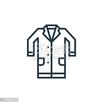 istock lab coat vector icon. lab coat editable stroke. lab coat linear symbol for use on web and mobile apps, logo, print media. Thin line illustration. Vector isolated outline drawing. 1248632376