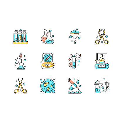 Lab equipment RGB color icons set. Test tube rack. Chemistry glassware for containing liquid. Petri dish. Bunsen burner. Funnel, beaker, test tube. Weighing device. Isolated vector illustrations