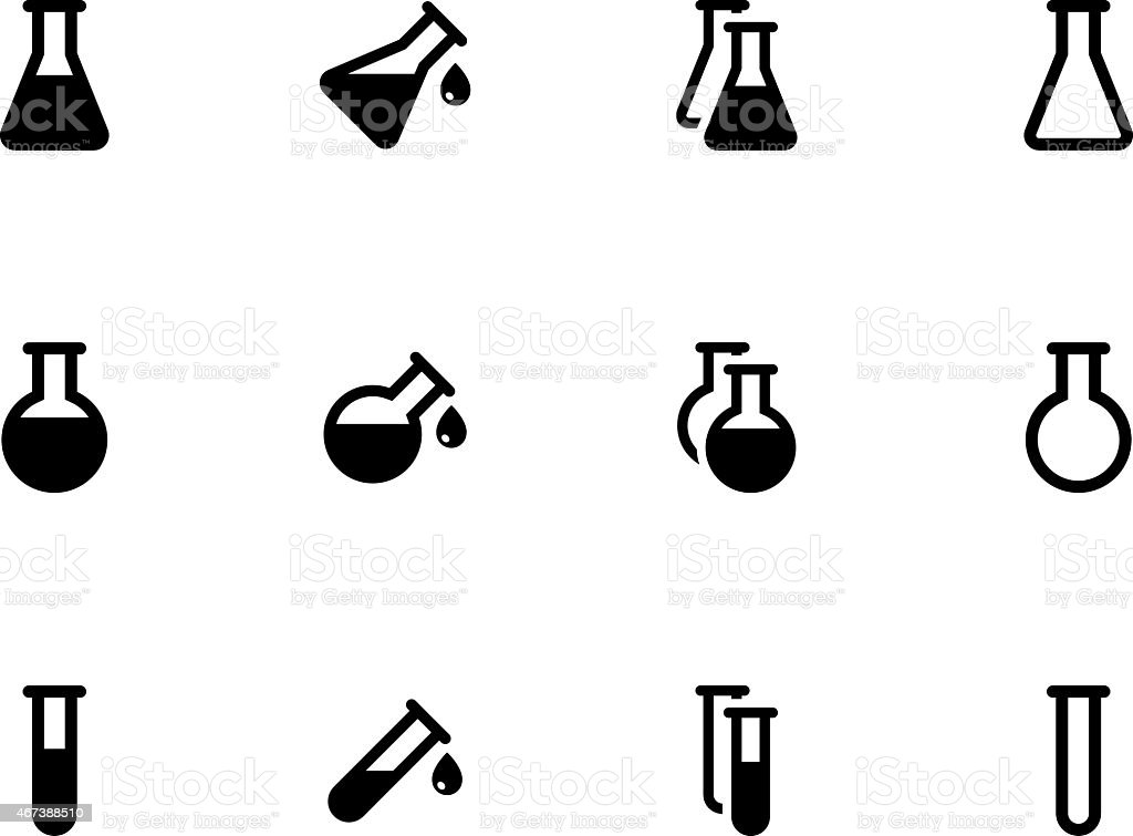 Lab flask icons on white background vector art illustration