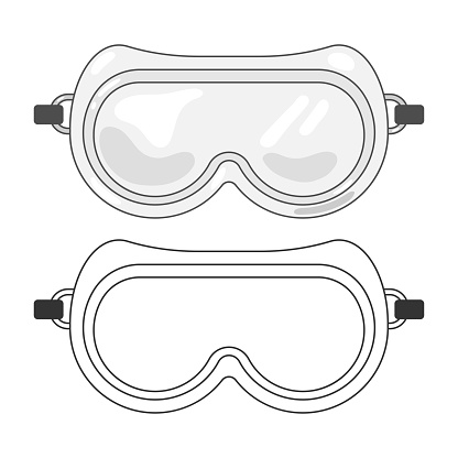 Lab goggles vector cartoon illustration isolated on a white background.