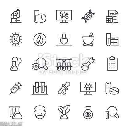 Laboratory, science, healthcare and medicine, icon, icon set, test tube, chemistry, mortar and pestle, flask