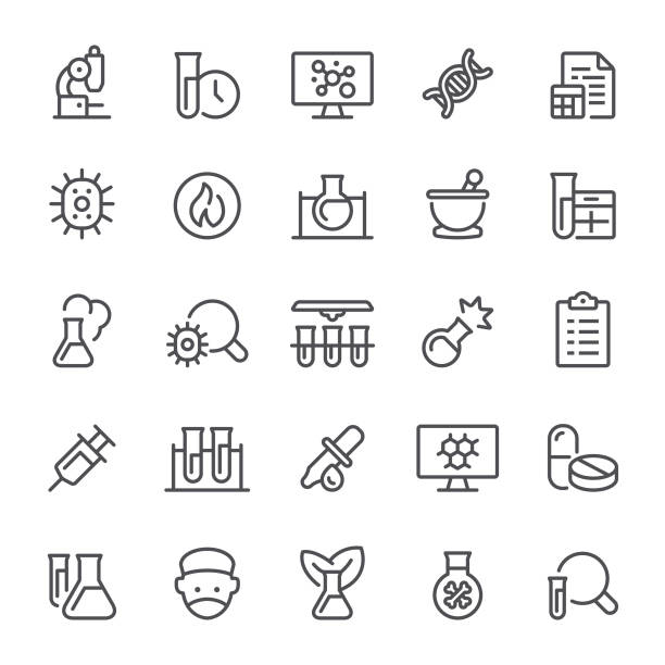 Lab Icons Laboratory, science, healthcare and medicine, icon, icon set, test tube, chemistry, mortar and pestle, flask chemical reaction stock illustrations