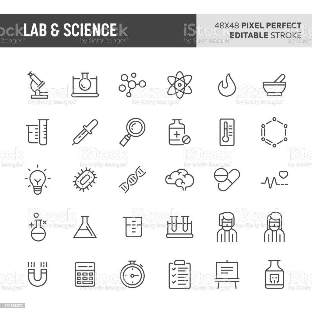 Lab & Science Vector Icon Set royalty-free lab science vector icon set stock illustration - download image now