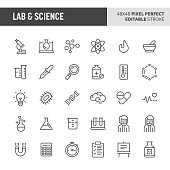 30 thin line icons associated with lab and science with symbols such as laboratory equipment, research and experiments are included in this set. 48x48 pixel perfect vector icon with editable stroke.