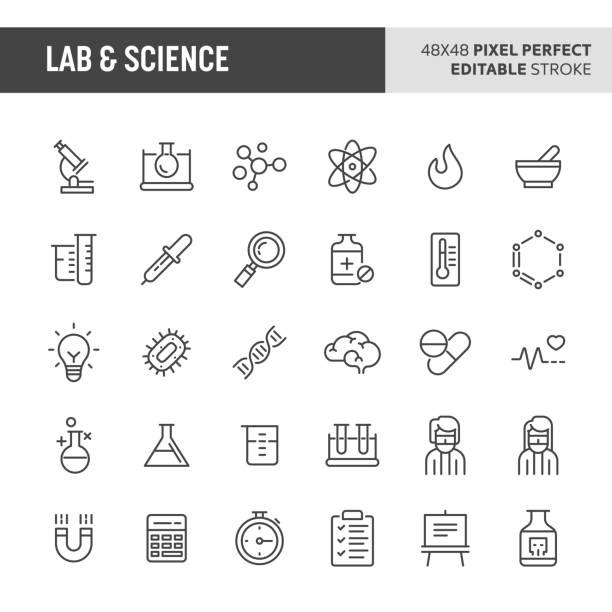 ilustraciones, imágenes clip art, dibujos animados e iconos de stock de laboratorio y ciencia conjunto de iconos de vector - química