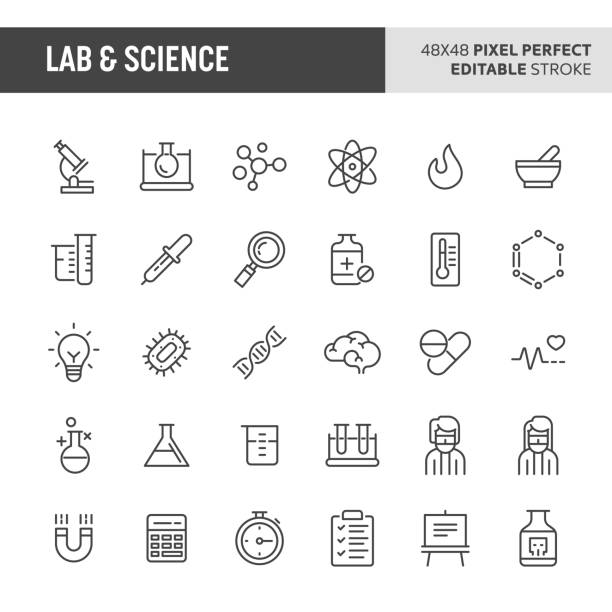 illustrazioni stock, clip art, cartoni animati e icone di tendenza di lab & science vector icon set - farmaco