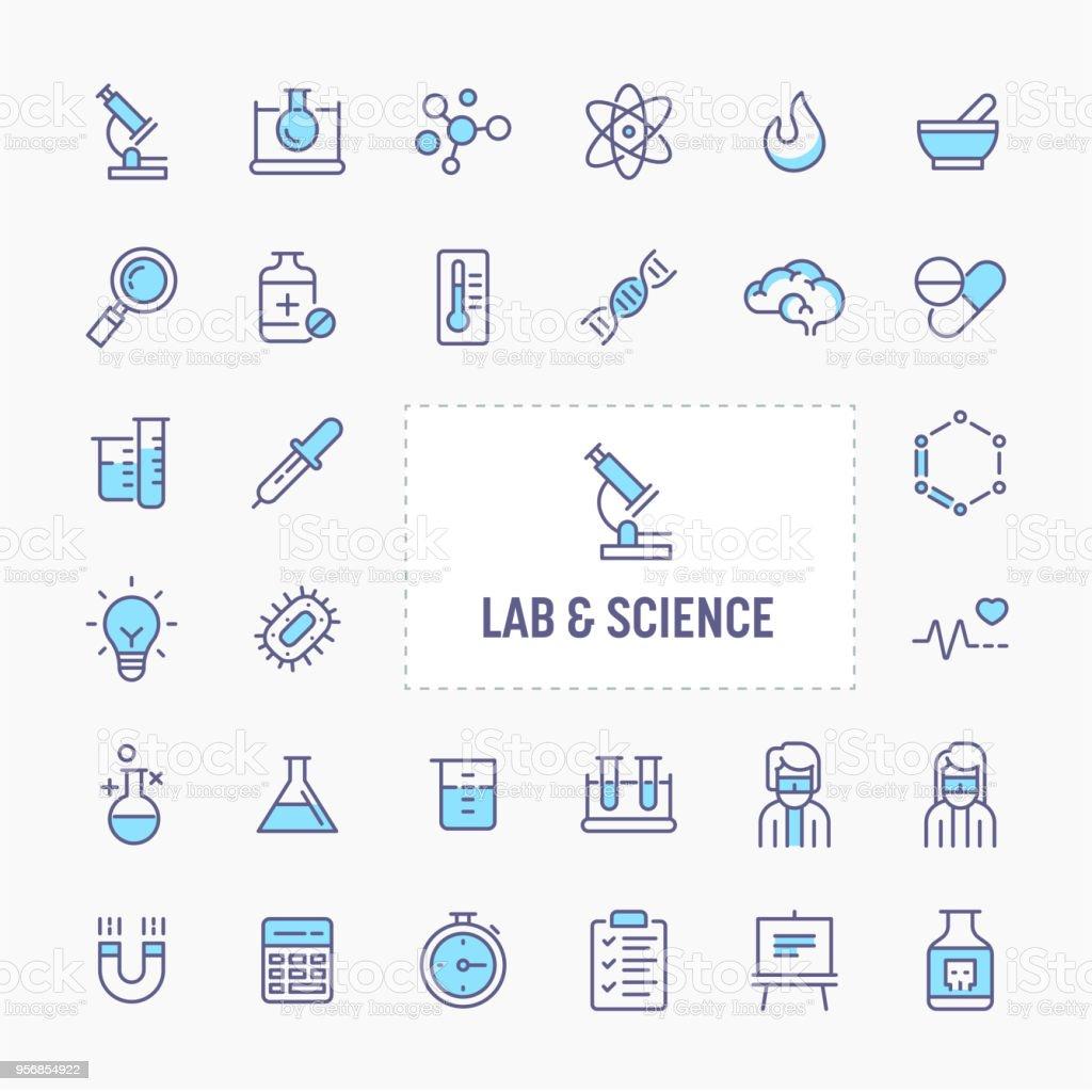 Lab & Sciences Minimal Icon Set vector art illustration