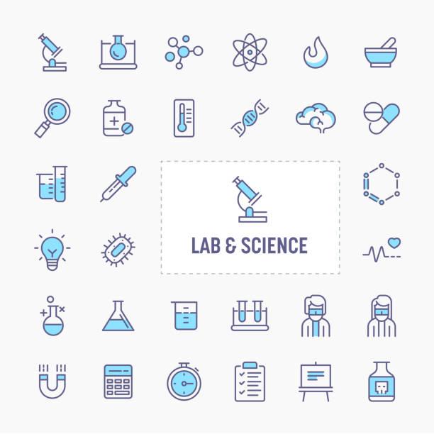 bildbanksillustrationer, clip art samt tecknat material och ikoner med lab & vetenskaper minimal ikonuppsättning - brain magnifying